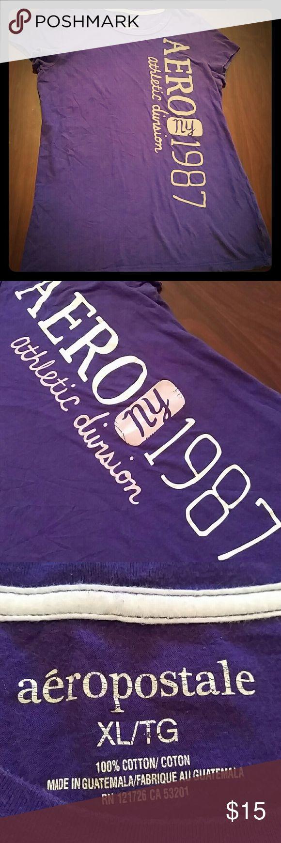 Aeropostale tee shirt Cute purple women's Aeropostale T-shirt size XL. In good condition Aeropostale Tops Tees - Short Sleeve