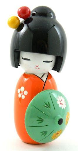 Beautiful Hand Painted Oriental Japanese Kokeshi Doll with Umbrella Orange