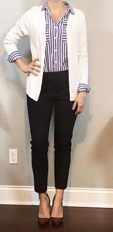 outfit post: striped button down, white cardigan, navy ankle pants, maroon pumps