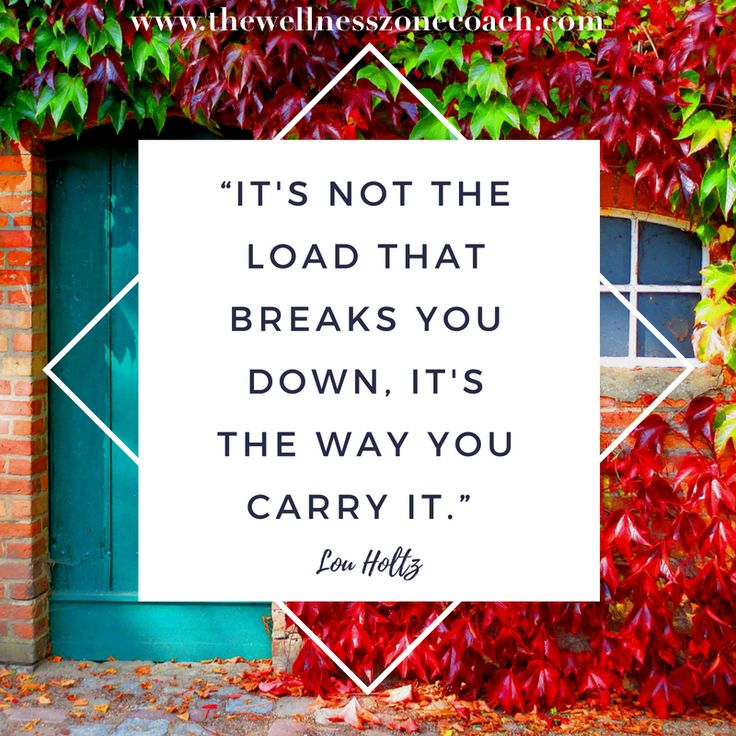 Motivational quote - It's not the load that breaks you down. It's the way you carry it. www.thewellnesszonecoach.com