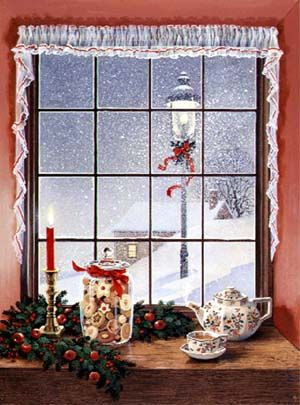 """Window and Teapot"" by Charlotte Joan Sternberg -Christmas"