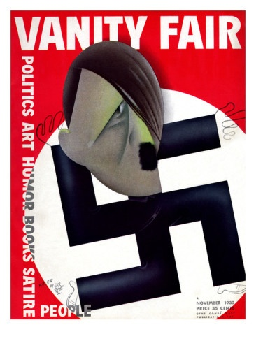 Hitler, a popular target for the political cartoonist Paolo Garretto, is tacked onto the points of a swastika on a Nazi flag. The illustration appeared on the November 1932 cover of Vanity Fair magazine.
