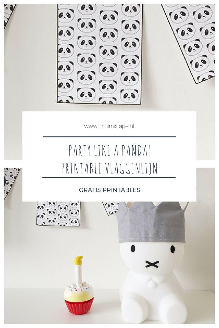 Printable panda versiering voor een verjaardag in panda-thema. Download de panda vlaggenlijn gratis!