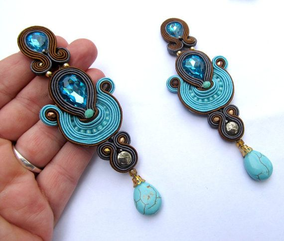 Long Clip-On Earrings Turquoise and Gray от GiSoutacheJewelry