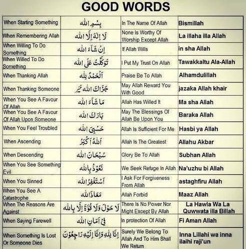 A list of words to familiarize ourselves with and to use often. May Allah make it easy for us!