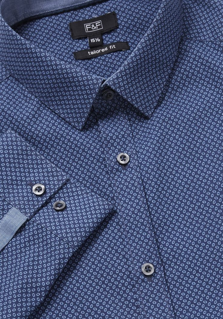 Clothing at Tesco | F&F Printed Easy Iron Tailored Fit Long Sleeve Shirt > tops > Men's Formal Shirts & Ties > Men