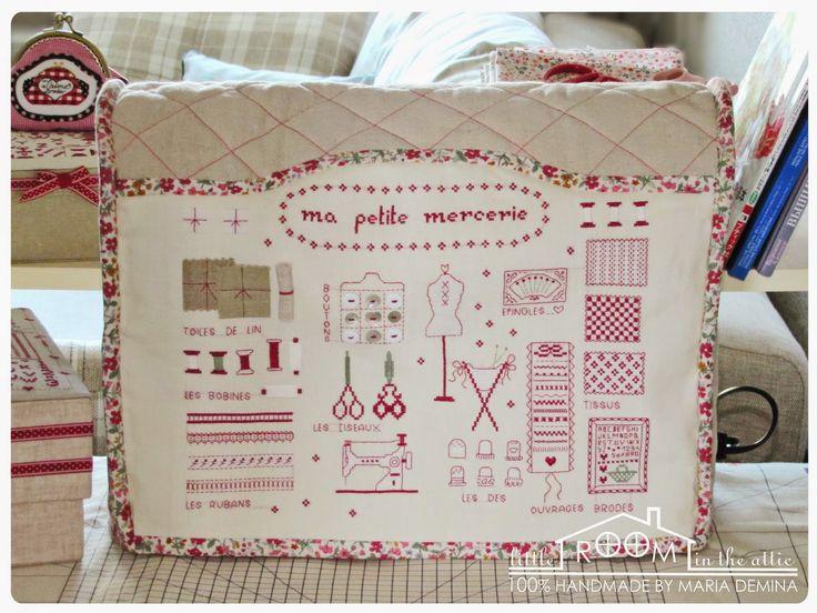 Комнатка с мансардой: Чехол для швейной машинки с вышитым французским сэмплером / Sewing machine cover with cross-stitched French sampler