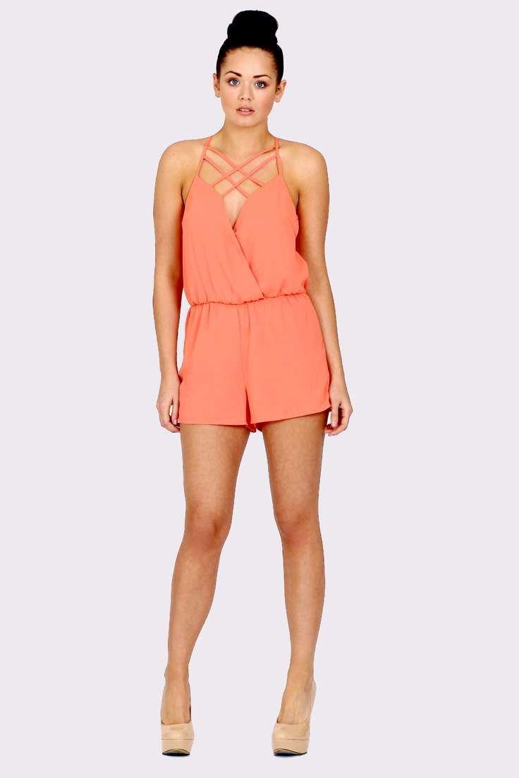'Candy' Cross Over Playsuit Coral Orange