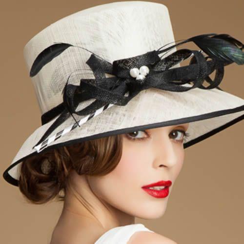 Designer Women Off White Black Linen Dress Derby Hats for Church SKU-158481