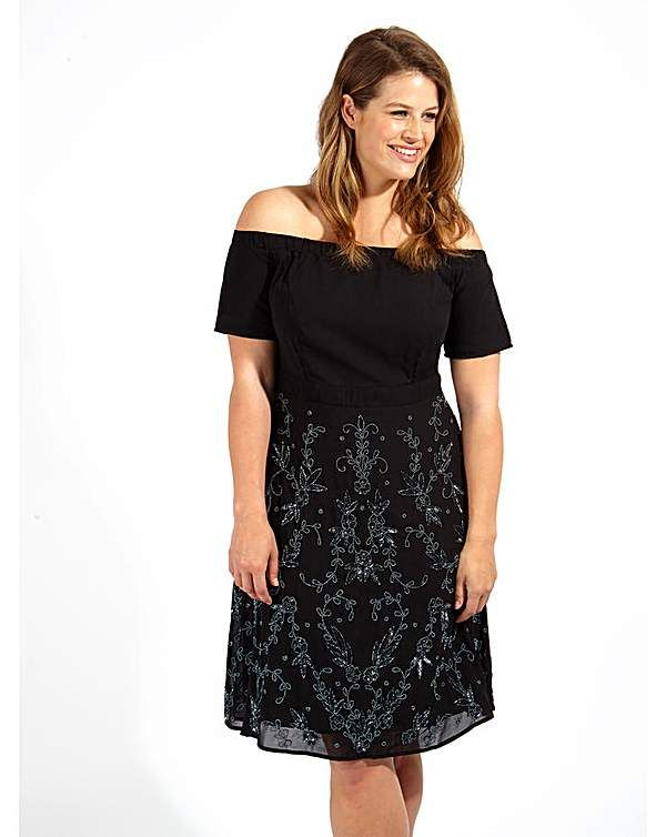 Lovedrobe Luxe Sequin Black Bardot Dress