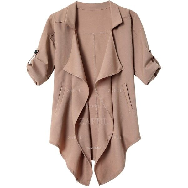 Long Sleeve Solid Color Trench Coat ($99) ❤ liked on Polyvore featuring outerwear, coats, jackets, brown trench coat, brown coat, trench coats and long sleeve coat