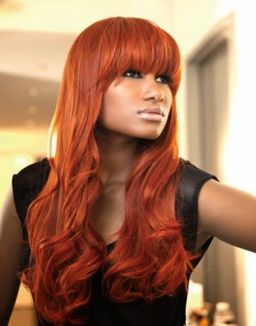 dark skin shades of red hair