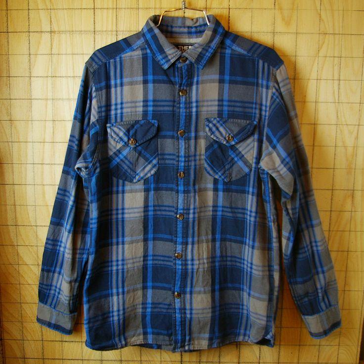 【THE NORTH FACE】古着ブルー×グレーチェック柄オールドデザインコットンシャツ|メンズSサイズ
