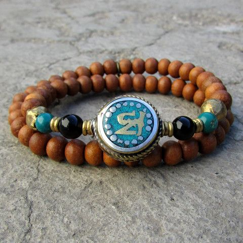 Half mala with Om guru bead, 54 sandalwood beads wrap bracelet. #om #sandalwood #bracelet #new #lovepray #jewelry