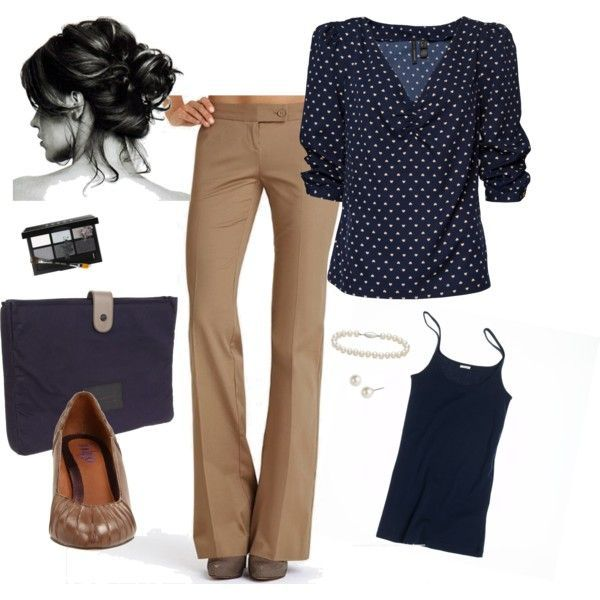 """Blue Monday"" by abbygiddings on Polyvore I would add a pop of red with shoes, of course. I love finding outfits I can make with things I already have!"