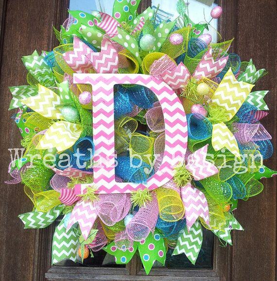 Chevron Initial Easter egg wreath by WreathsbyDesign1 on Etsy, $75.00