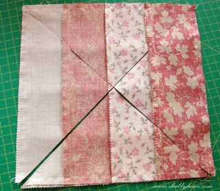 Shabby Home-- very easy way to make elegant quilt squares from jellyrolls or other fabric strips!