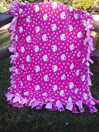 Hello Kitty Fleece Knot Blanket Girls Blanket by AmysBagsandBeyond, $31.20