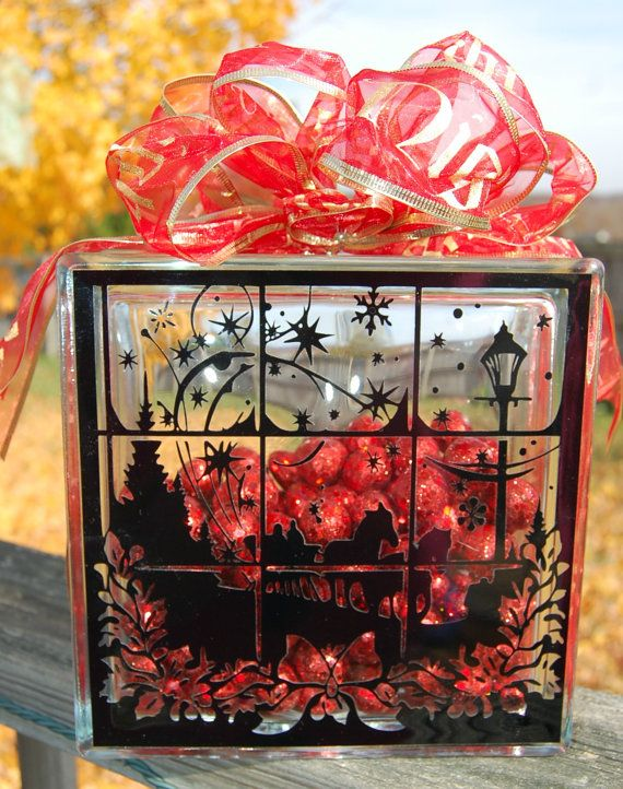 Dashing through the snow decorated glass block ready to for Glass blocks for crafts lowes