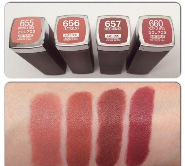 Bellynim: Maybelline Creamy Matte Lipstick Shades Swatch. (I luv 656 Clay Crush.)