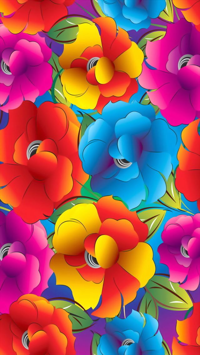 iPhone wallpaper bright rainbow floral | Curved Color ...