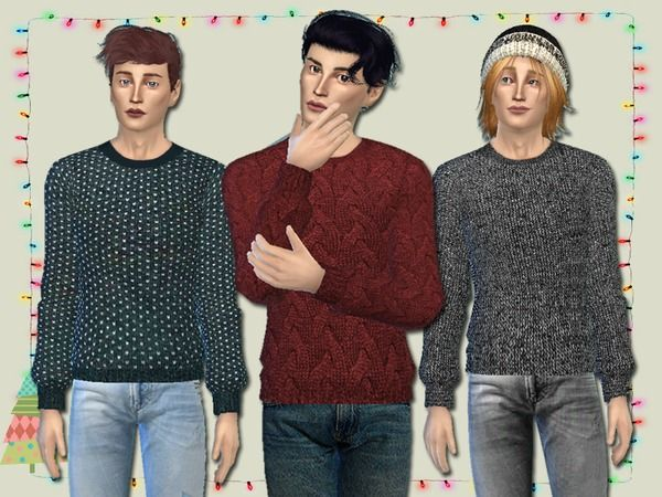 Knit Jumpers for Him by Simlark at TSR via Sims 4 Updates