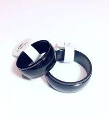 Bay / Bayan Siyah Ortası Parlak  Çelik  Söz / Nişan Yüzüğü