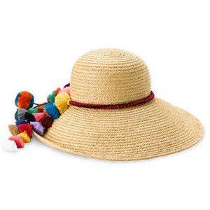 "Juicy Couture ""Pompom Tassels"" Straw Sun Hat"