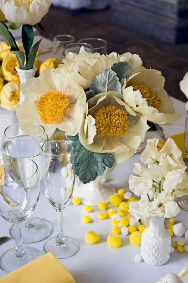 adam and alicia rico wedding.  brooklyn may 2009.  yellow and grey peony arrangement.