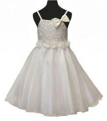"""Φορέματα για Παρανυφάκια - Πάρτυ :: Μοναδικό Φόρεμα σε Λευκό με Πλεκτό για Παρανυφάκι, Βάπτιση, Πάρτι Εκδήλωση Σε Πολύ Καλή Τιμή και Ποιότητα """"Belle"""" - MEMOIRS Νυφικά και Γυναικεία Φορέματα"""