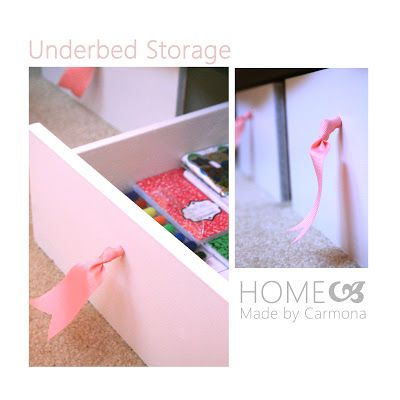 """under bed storage option DIY from old drawers. This project has an interesting feature by using """"furniture glides"""" to make it work on carpeted surfaces more effectively."""