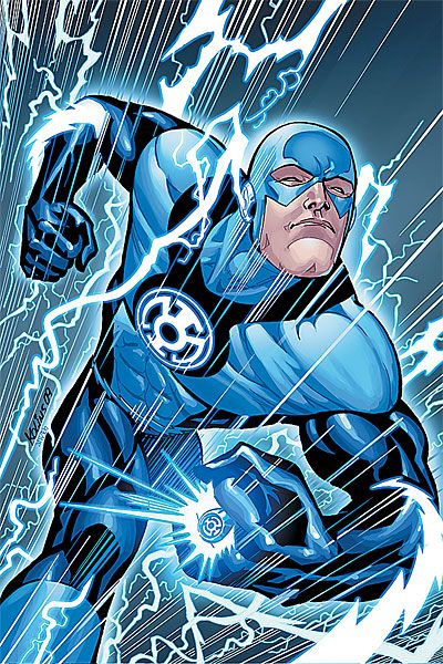 Barry Allen as a member of the Blue Lantern Corps during the Blackest Night event. Cover art to Blackest Night: The Flash #3 by Scott Kolins.