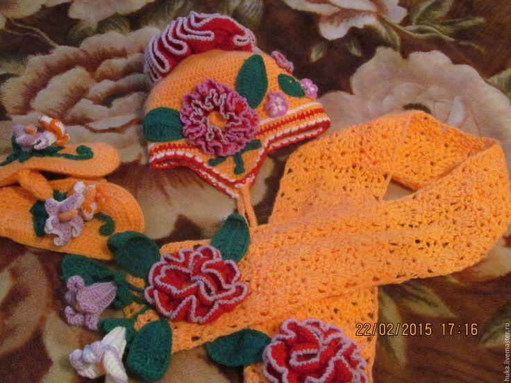 Купить Шапочка шарфик и варежки. - рыжий, однотонный, шапка вязаная, детская шапочка, шапка с помпоном