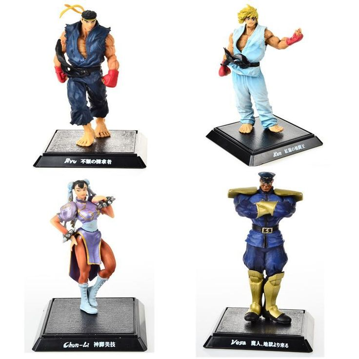 4PCS,BOHS Player Select Street Fighter IV Survival Model Ken Ryu Guile Action Figure Toy