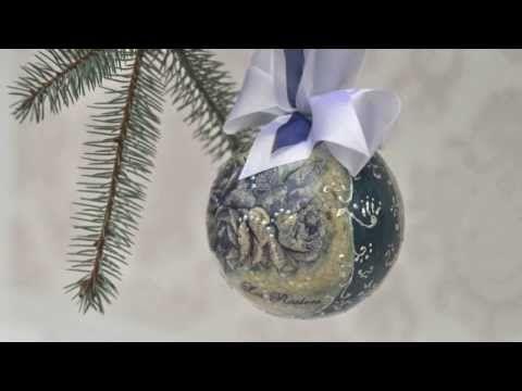Декупаж пенопластового шара Новогодняя игрушка - YouTube