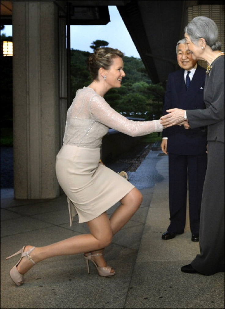 Empress Michiko greets Princess Mathilde of Belgium during their visit to Japan at the Gosho Place on 12 June 2012 in Tokyo