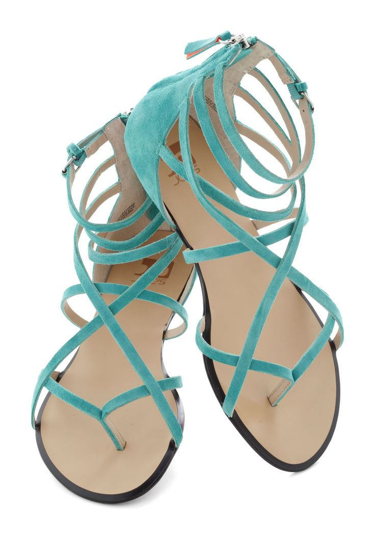 Crossing Waters Sandal in Aqua by Joe's Jeans Footwear - Blue, Solid, Flat, Strappy, Leather, Casual, Daytime Party, Beach/Resort, Spring, Summer, Suede