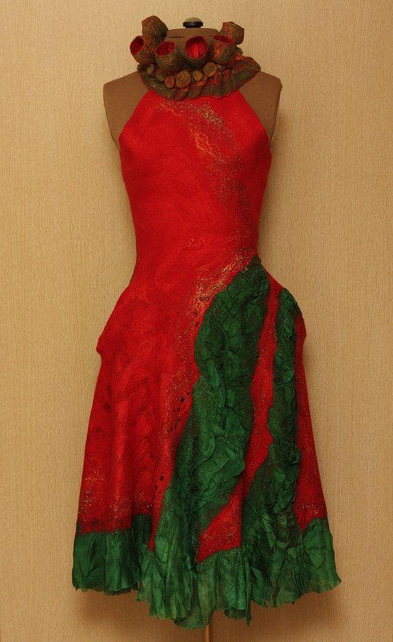 """Viva la Vida / Frida Kahlo """"Viva la Vida"""" Collection / Felted Clothing / Dress. $500.00, via Etsy."""