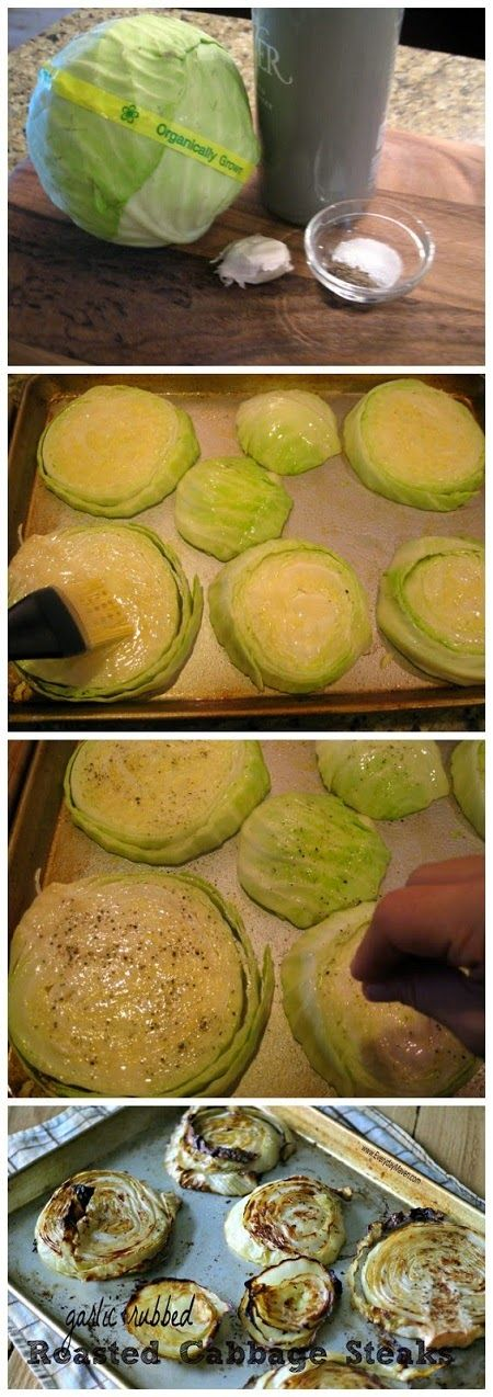 Garlic Rubbed Roasted Cabbage Steaks ~ Garlic Rubbed Roasted Cabbage Steaks If you love cabbage, you are going to freak out about how good this is. Now, if you are on the fence about cabbage, you need to try this because this might be the recipe that converts you to a cabbage lover. This is a simple side dish worthy of a dinner party and couldn't be easier to make. Four ingredients, a couple of minutes to prepare and toss in the oven for an hour. Ingredients 1 (approx 2lb) head of organic…