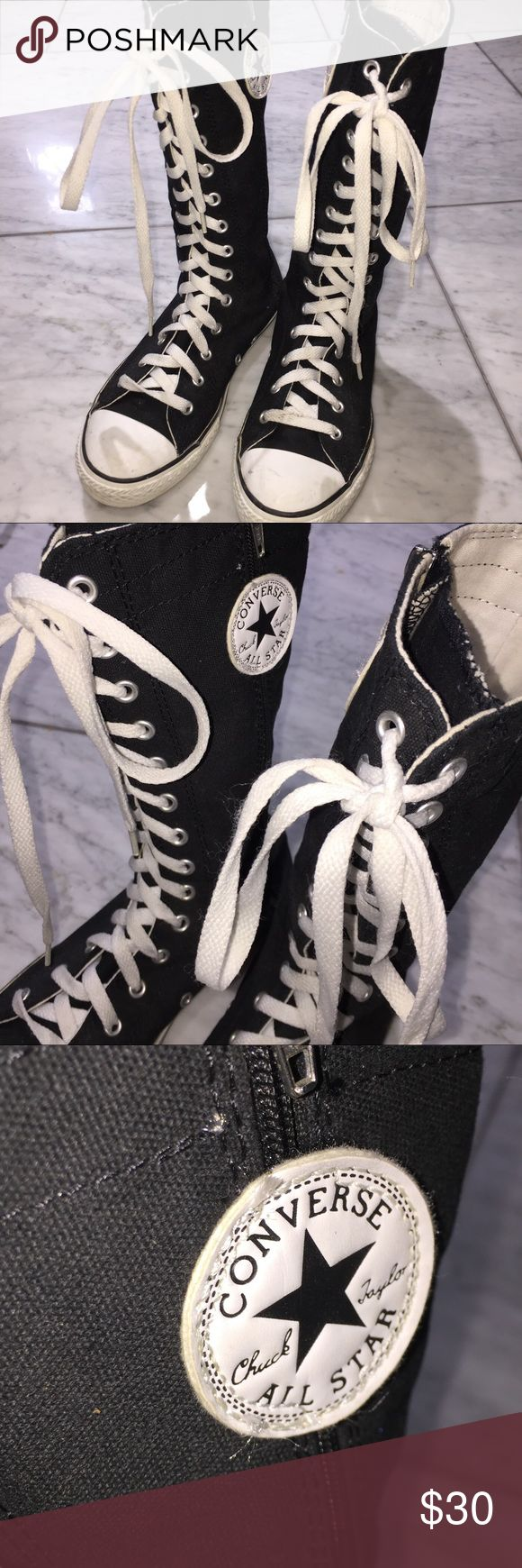 Converse Knee High Boots Kids SZ 4 Used Converse high knee boots Kids SZ 4 in black! Only worn a handful of times! Cute for any edgy little girlies :) Converse Shoes Boots