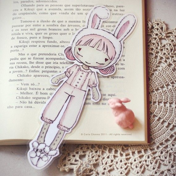 The Sweet Little Bunny bookmark by ribonitachocolat on Etsy