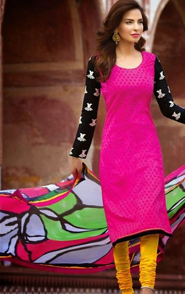 Picture of Glorious Fuschia Pink Casual Churidar Kameez