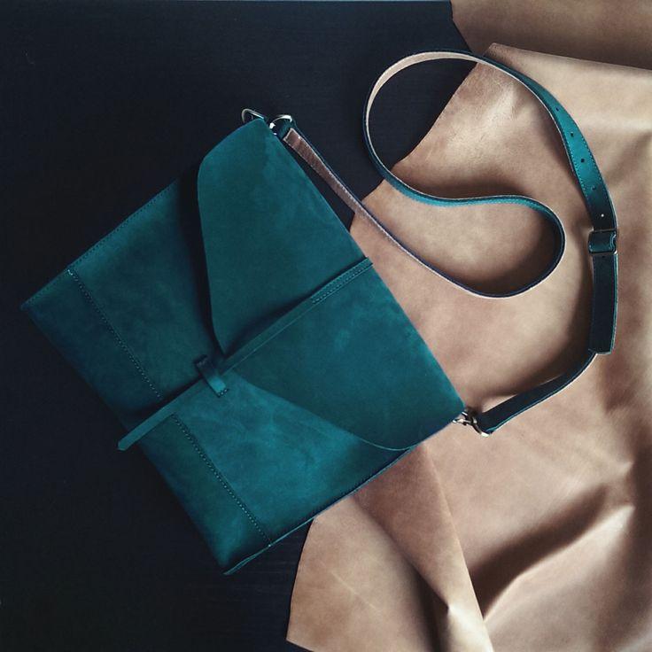 Кожаная сумка изумрудного цвета Libra