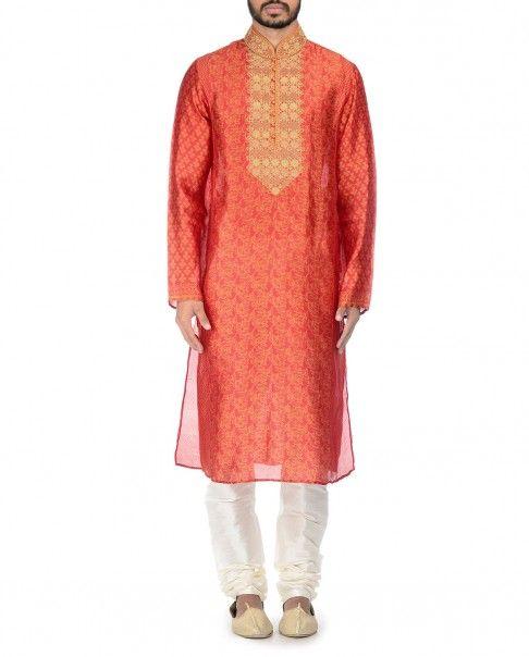 Zari Embroidered Burnt Orange Kurta Set