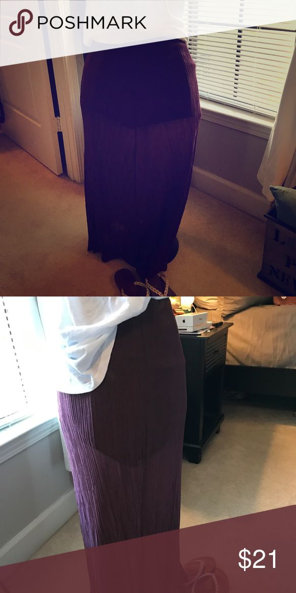 LA hearts burgundy maxi skirt This skirt is super cute!! Semi sheer with a shorter slip underneath. It's great for the summer. Never worn but took the tags off. LA Hearts Skirts Maxi