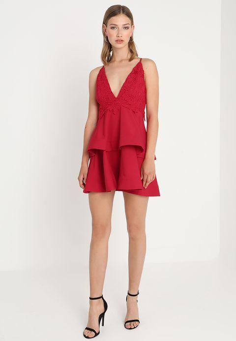 STRAPPY PLUNGE DOUBLE LAYER SKATER DRESS – Vestito estivo – red @ Zalando.it 🛒