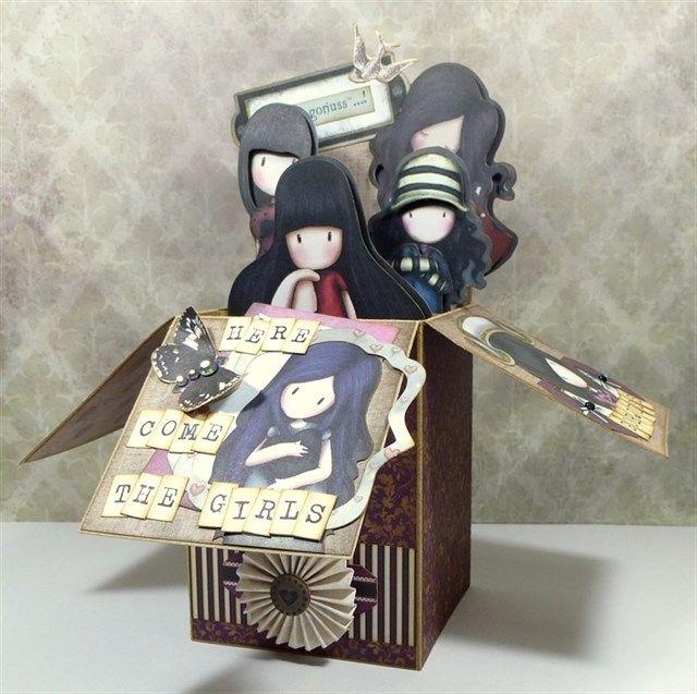 Handmade Santoro's gorjuss pop up box card