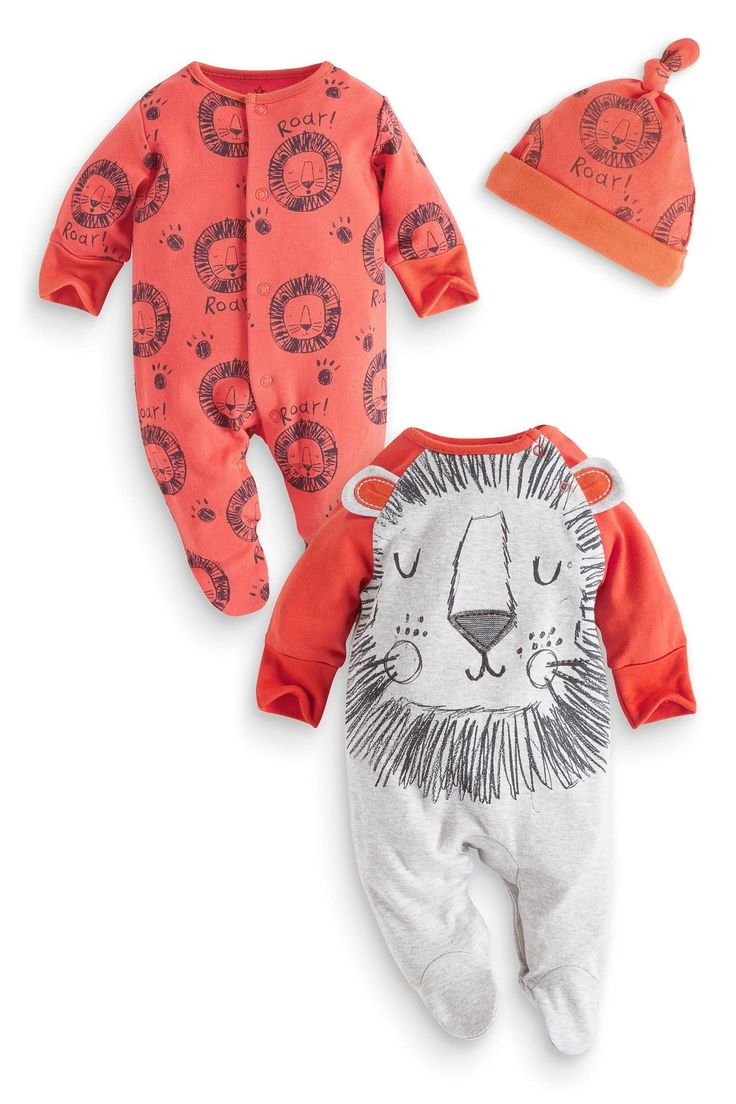 Buy Two Pack Orange Lion Sleepsuits And Hat (0mths-2yrs) from the Next UK online shop
