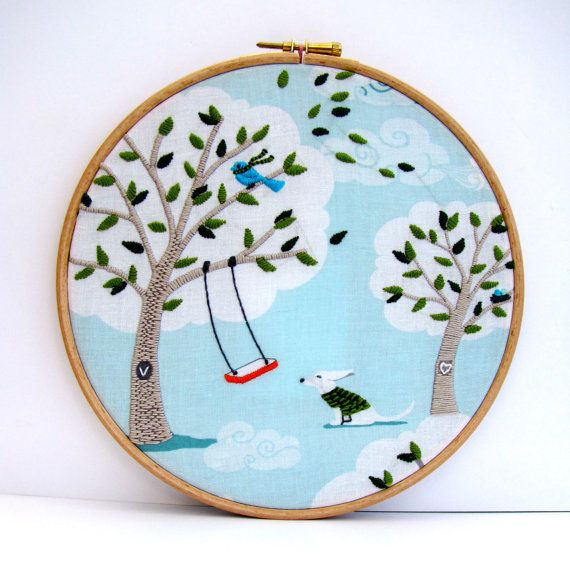 Hand Stitched Embroidery Picture.  Hoop Art. Aqua & Green with Swing and Dog. Personalise. Windy Day 8 x 8 inch.  by mirrymirry