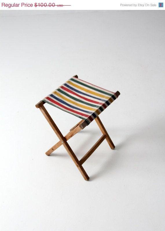 SALE FREE SHIP vintage camp stool / striped canvas folding seat
